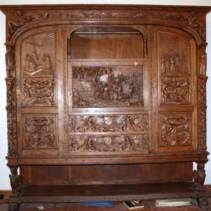 Conjunto de mesa de despacho madera tallada